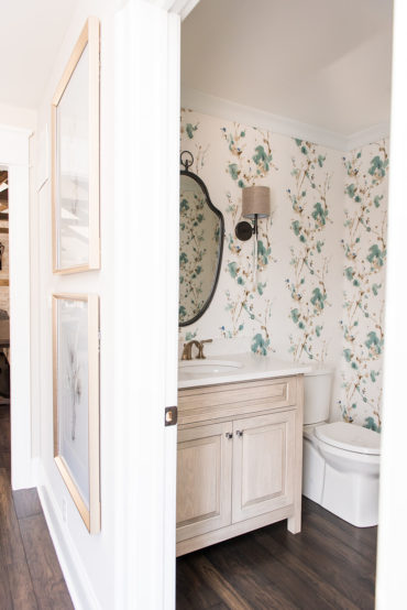 Bathroom After: transformed into a powder room and mudroom